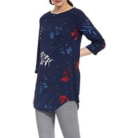Joules Felicia 3/4 Sleeve Print Tunic Top, French Navy Fay Floral