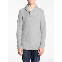 Denham Shawl Knit Jumper, Ice Grey