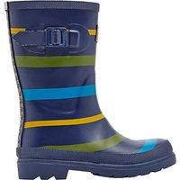 Little Joule Childrens Multi Stripe Wellington Boots, Navy/Multi