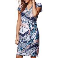 Yumi Floral Print Wrap Dress, Cobalt Blue