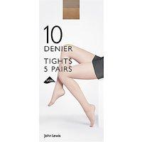 John Lewis 10 Denier Sheer Tights, Pack of 5