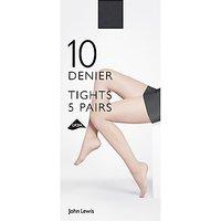 John Lewis & Partners 10 Denier Sheer Tights, Pack Of 5