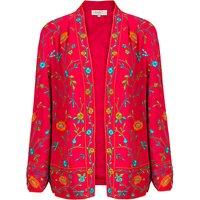East Vibrant Floral Embroidered Kimono Jacket, Magenta/Multi