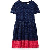 Yumi Girl Pleated Lace Panel Dress, Navy
