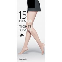 John Lewis & Partners 15 Denier Tights, Pack Of 3