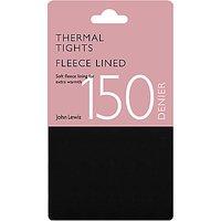John Lewis & Partners 150 Denier Polar Fleece Opaque Thermal Tights, Black