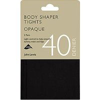 John Lewis & Partners 40 Denier Bodyshaper Opaque Tights, Pack Of 2