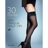 John Lewis & Partners 30 Denier Semi Opaque Hold Ups, Pack Of 1, Black