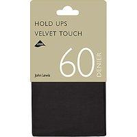 John Lewis & Partners 60 Denier Velvet Touch Hold Ups, Pack Of 1, Black