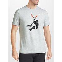 John Lewis Christmas Panda T-Shirt, Grey Marl