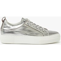 Pieces Paulina Leather Trainers, Silver