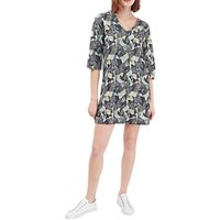 French Connection Lala Palm Print Tunic Dress, Tribal Green/Multi