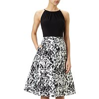 Adrianna Papell Halter Neck Jersey Bodice Mikado Party Dress, Black/White