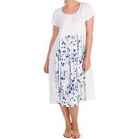 Chesca Dotty Panel Linen Dress, White/Royal