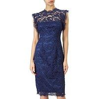 Adrianna Papell Ruffle Sleeve Lace Sheath Dress, Night Navy