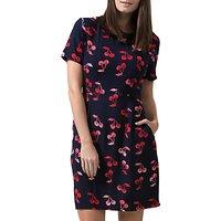 Sugarhill Boutique Love Cherry Batik Print Shift Dress, Navy/Red