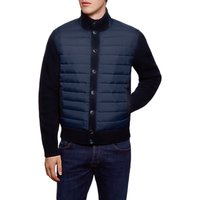 Hackett London Padded Front Button Cardigan, Navy