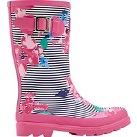 Little Joule Childrens Stripe Floral Wellington Boots, Pink