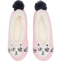 Joules Children's Character Dreama Cat Slippers, Pink