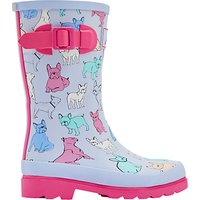 Little Joule Childrens Bulldog Wellington Boots, Sky Blue