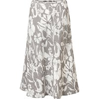 East Linen Etched Floral Skirt, Limestone