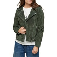 Selected Femme Lore Suede Leather Jacket, Forest Green
