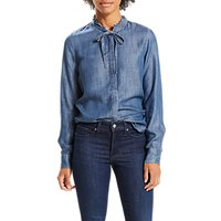 Levis Katya Tie Neck Shirt, Medium Authentic