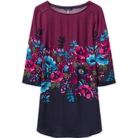 Joules Felicia Printed Woven Tunic Top, French Navy Plum Camellia Border