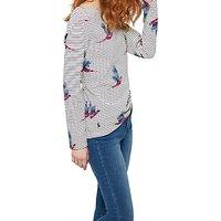 Joules Harbour Long Sleeve Printed Jersey Top, Cream Painted Pheasant Stripe