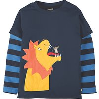 Frugi Organic Boys Lion Applique Long Sleeve T-Shirt, Navy