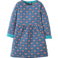 Frugi Organic Girls Lulu Jumper Fox Dress, Navy