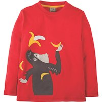 Frugi Organic Boys Monkey Applique Long Sleeve T-Shirt, Red