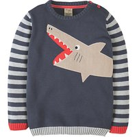 Frugi Boys Elwood Shark Knit Jumper, Blue/Grey