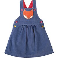 Frugi Organic Girls Doris Fox Dungaree Dress, Blue