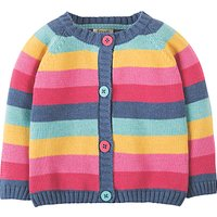 Frugi Organic Baby Happy Day Cardigan, Blue/Pink