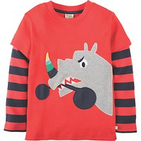 Frugi Organic Boys Rhino Applique Long Sleeve T-Shirt, Red