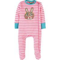 Frugi Organic Baby Bunny Zippy Babygrow Sleepsuit, Pink/White