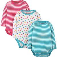 Frugi Organic Baby Luxe Pointelle Bodysuit, Pack of 3, Blue