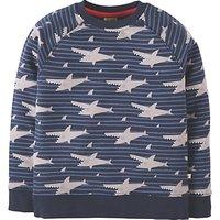 Frugi Organic Boys' Rex Shark Jumper, Blue/Grey