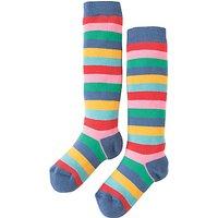 Frugi Organic Girls Multi Stripe Socks, Red/Multi