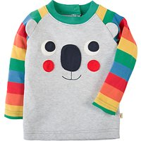Frugi Organic Boys Happy Rag Rainbow Top, Grey/Multi