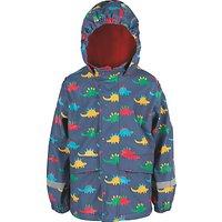 Frugi Organic Childrens Puddle Buster Dinosaur Coat, Blue/Multi