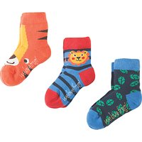 Frugi Organic Baby Little Tiger Socks, Pack of 3, Blue/Orange
