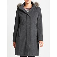 Gerry Weber Hooded Faux Fur Trim Wool Cashmere Coat, Grey Melange