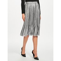 Maison Scotch Metallic Pleated Midi Skirt, Silver