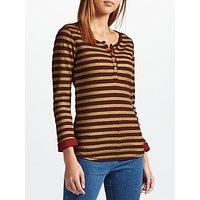 Maison Scotch Metallic Fibre Grandad Stripe Jersey Top, Red/Yellow
