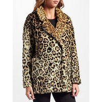 Maison Scotch Leopard Print Faux Fur Coat, Multi