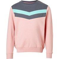 John Lewis Girls' Chevron Sweatshirt, Pink