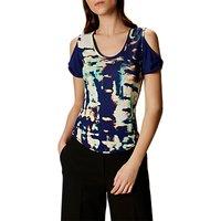 Karen Millen Printed Cut-Out Shoulder T-Shirt, Blue/Multi