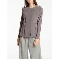 Modern Rarity Belt Back Silk Blouse, Taupe